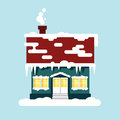 Winter cozy house isolated. Christmas time, happy new year - vector illustration. Snow flat city urban landscape Royalty Free Stock Photo