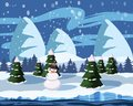 Winter cute landscape, snowman, christmas trees in the snow, river, mountains, vector, illustration, isolated, cartoon