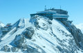 Winter dachstein mountain view and upper station cable car hazy to to massif austria Stock Images