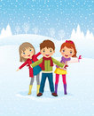 Winter day. Children playing outdoors Royalty Free Stock Image