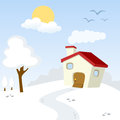 Winter day countryside landscape friendly house trees snow sun clouds useful also educational learning purposes regarding nature Royalty Free Stock Image