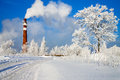 Winter day and industrial air pollution beautiful Stock Image