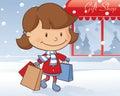 Winter day shopping girl little doing some festive Royalty Free Stock Photo