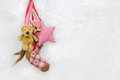 Winter decoration on snowy background with a red checked star an white teddy bear and Stock Photography
