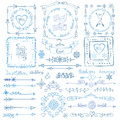 Winter doodle decor set.Frame,Border,ribbon.Hand Royalty Free Stock Photo
