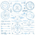 Winter doodle decor set.Wreath,Frame,Border,ribbon Royalty Free Stock Photo