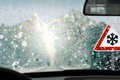Winter driving caution poor view causes dangerous situations always remember to keep your windshield free Royalty Free Stock Photography