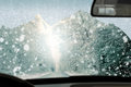 Winter driving poor view causes dangerous situations always remember to keep your windshield free Royalty Free Stock Photos