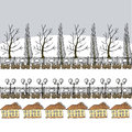 Winter or early spring background with trees lanterns and house vector houses grey sky greeting card packing paper eps Stock Photos