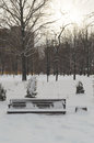 Winter evening landscape in the park. Sunset. An empty bench covered with snow. Royalty Free Stock Photo