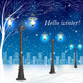 Winter evening landscape with vintage lampposts Royalty Free Stock Photo