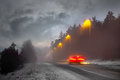 Winter evening traffic Stock Photography