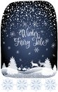 2019 Winter Fairy Tale Holiday Happy New Year Merry Christmas Snowy Forest Landscape with reindeer Royalty Free Stock Photo