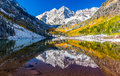 Winter and fall foliage in maroon bells aspen co at Royalty Free Stock Photography