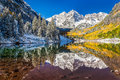 Winter and Fall foliage at Maroon Bells, CO Royalty Free Stock Photo