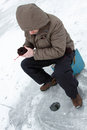Winter fishing family leisure outdoor man and Stock Image