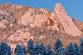 Winter Flatirons Flocked with Snow Royalty Free Stock Photo