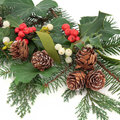 Winter flora christmas with holly ivy mistletoe pine cones and greenery over white background Stock Photo
