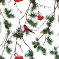 Winter forest Christmas seamless vector pattern Royalty Free Stock Photo