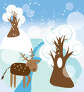 Winter forest landscape vector graphic image with the funny deer walking in a Royalty Free Stock Images