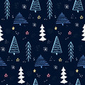 Winter forest pattern with hand drawn christmas tree. Blue night sky with stars and snowflakes. Vector background for Royalty Free Stock Photo