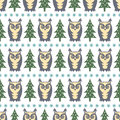 Winter forest pattern xmas trees owls and snowflakes simple seamless nature background vector design for holidays on white Royalty Free Stock Photo