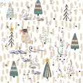 Winter Forest seamless pattern background. Scandinavian style.