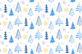 Winter forest seamless pattern with hand drawn christmas trees. Vector background for wrapping paper and christmas Royalty Free Stock Photo
