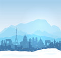 Winter in france vector mont blanc with paris et lyon silhouettes Royalty Free Stock Image