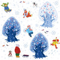 Winter fun background seamless pattern with children outdoors in time Stock Images