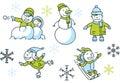 Winter fun set a cartoon of simple cartoon children having Royalty Free Stock Photo