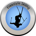 Winter game button freestyle skiing Stock Image