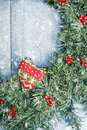 Winter garland christmas wreath with falling snow Stock Photography