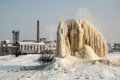 Winter geyser on sludge fields the sugar factory in litovel czech republic discharges waste water into and frost in created this Royalty Free Stock Photography