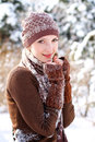 image photo : Winter girl basking outdoors