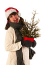 Winter girl with hat Santa Claus Stock Image