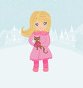 Winter girl and her cat illustration Royalty Free Stock Images