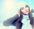 Winter girl wearing hat and scarf Royalty Free Stock Photo