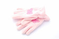Winter gloves for girls a pair of pink fleece little image isolated on white studio background Stock Photos