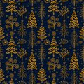 Winter gold seamless Christmas pattern for design packaging paper, postcard, textiles