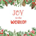 Christmas square banner with watercolor holiday fir tree branches and red holly berries, on white background. Festive winter frame Royalty Free Stock Photo