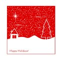Winter greeting card with abstract house and christmas tree Stock Photography