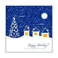 Winter greeting card with abstract houses and christmas tree Royalty Free Stock Images