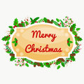 Winter greeting card, Christmas holiday banner with decoration ribbons and xmas jingle bells. merry christmas template