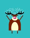 Winter greeting from Happy deer Royalty Free Stock Photo