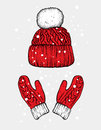Winter hat and gloves. Knitted mittens. Vector illustration for a postcard or a poster, print for clothes.