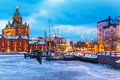 Winter in helsinki finland evening scenery of the old town pier architecture Royalty Free Stock Images