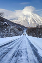 Winter highway in hokkaido japan Stock Photos