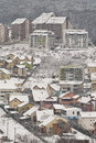 Winter hillside neighborhood in the balkans urban detail Royalty Free Stock Photos