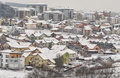 Winter hillside neighborhood in the balkans urban detail Stock Images